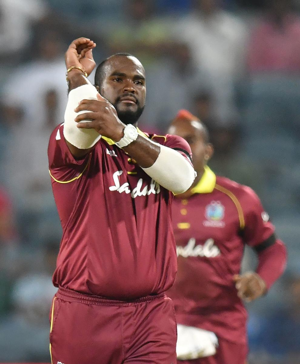 Ashley Nurse shone with an all-round performance in the West Indies' 43-run win over India in the 3rd ODI in Pune. AFP