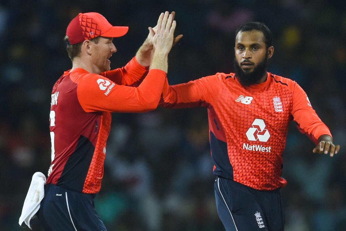 SPINNING A WEB: England's Adil Rashid (right) celebrates with Eoin Morgan after dismissing Sri Lanka's Kamindu Mendis. AFP