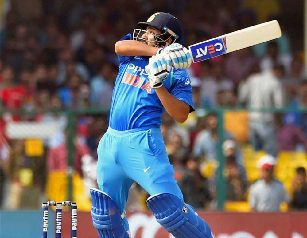 Rohit Sharma top-scored with 162 as India amassed 377 for five in the fourth one-day international against West Indies in Mumbai on Monday. (PTI File Photo)