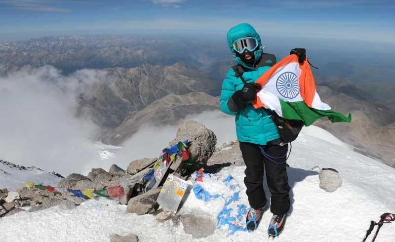 Nanditha Nagangoudar on top of Russia's Mount Elbrus. Photo provided by Nanditha