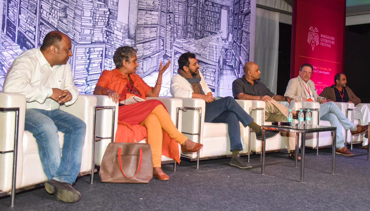 From left- Pratik Sinha, Chitra Subramaniam, Sreenivasan Jain, Naresh Fernandes, Francois Gautier and Mukund Padmanabhan. DH Photo/S K Dinesh