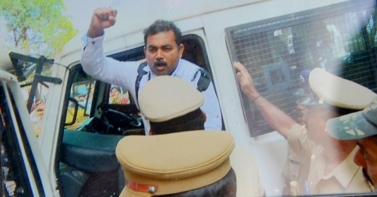 Maoist leader Roopesh was produced before the District Principal and Sessions Court in Madikeri on Monday.
