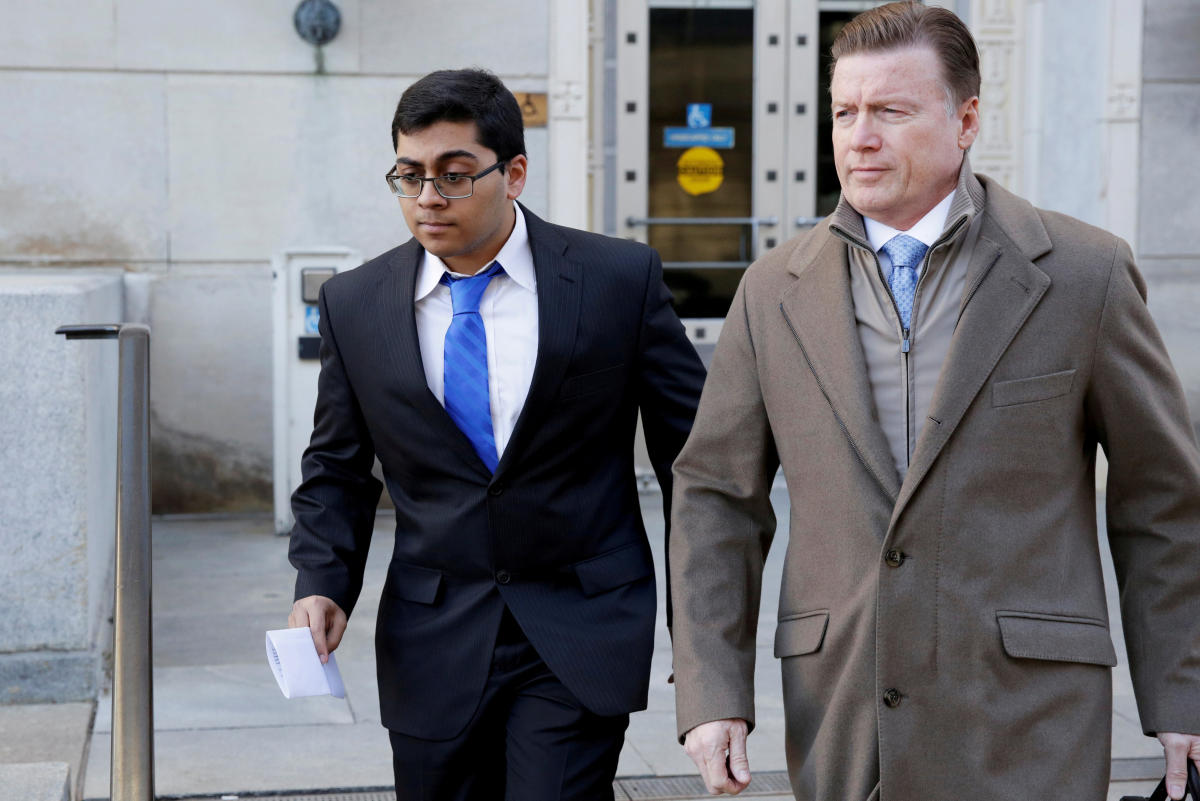 FILE PHOTO: Former Rutgers University student Paras Jha is seen as he leaves the Clarkson S. Fisher Building and U.S. Courthouse after his hearing in Trenton, New Jersey, U.S., Dec.all 13, 2017. REUTERS/Dominick Reuter/File Photo