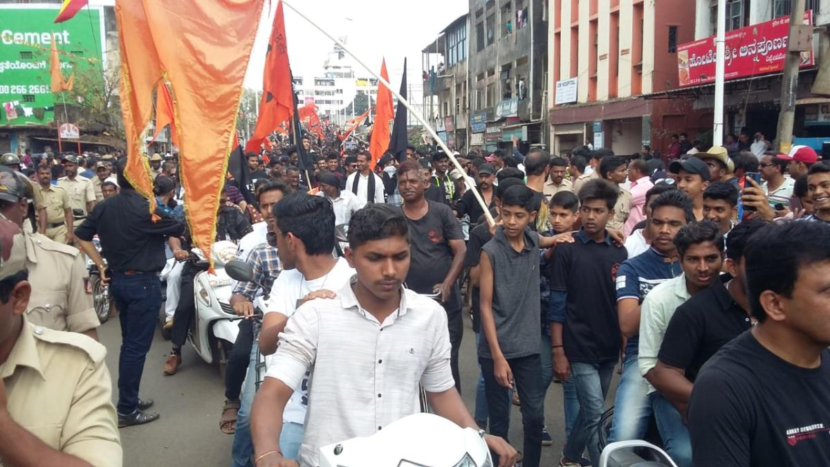 MES activists demand inclusion of Belagavi into Maharashtra. DH photo.