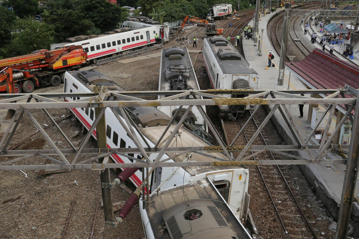 An overturned train is seen in Yilan, Taiwan. Eighteen people were killed and 187 injured in the island's worst rail crash in decades. (Reuters File Photo)
