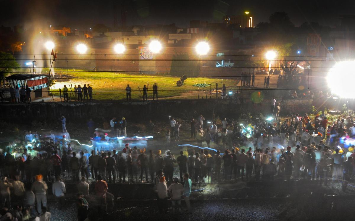 Sixty people were crushed to death by a train coming from Jalandhar on October 19, when they were watching an effigy of Ravana being burnt at a ground near railway tracks at Joda Phatak. (PTI File Photo)