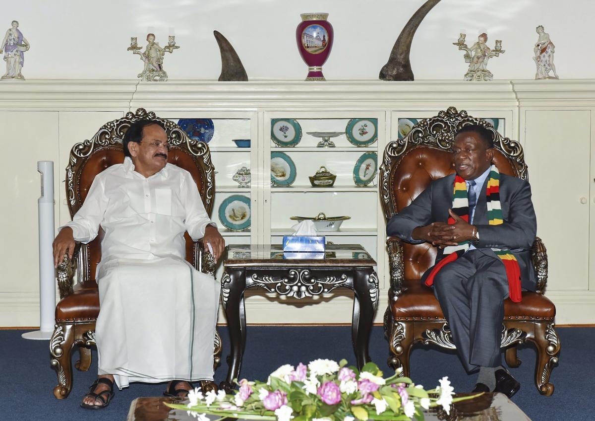 Vice President, M. Venkaiah Naidu and President of Zimbabwe, Emmerson Mnangagwa during a meeting in Harare, Zimbabwe. PTI