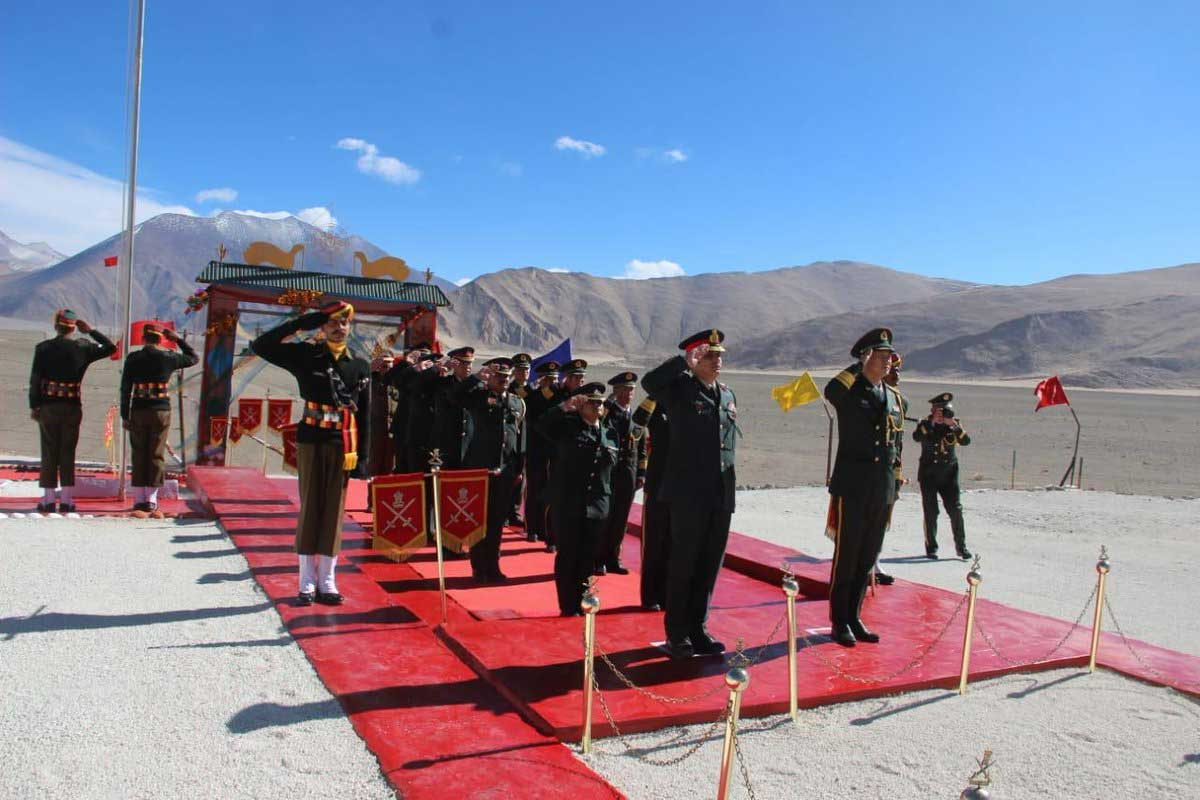 A ceremonial border personnel meeting (BPM) on the occasion of Diwali was held Monday between Indian and Chinese Army delegations on the Indian side of the border at Chushul in the Ladakh region. Picture courtesy ANI