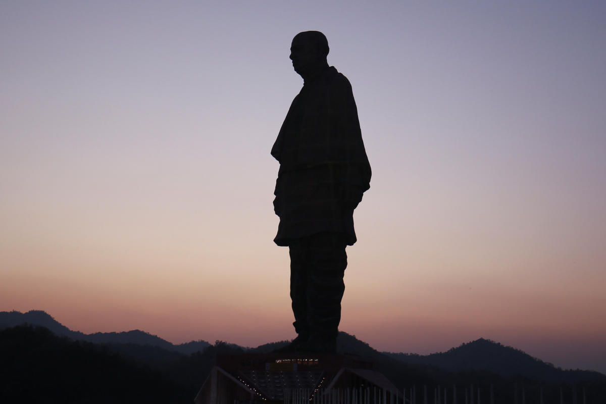 """A view of the """"Statue of Unity"""" portraying Sardar Vallabhbhai Patel, during its inauguration in Kevadia, Gujarat. REUTERS"""
