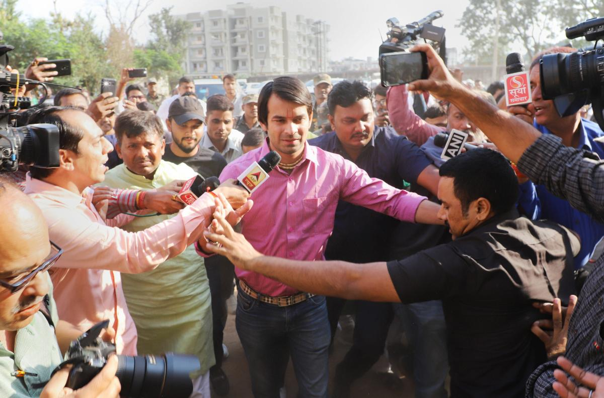 Former minister of Bihar and Senior leader of RJD Tej Pratap Yadav arrives in Ranchi to meet with his father Lalu Prasad Yadav at Rajednra Institute of Medical Science (RIMS) on Saturday, November 3, 2018. (PTI Photo)