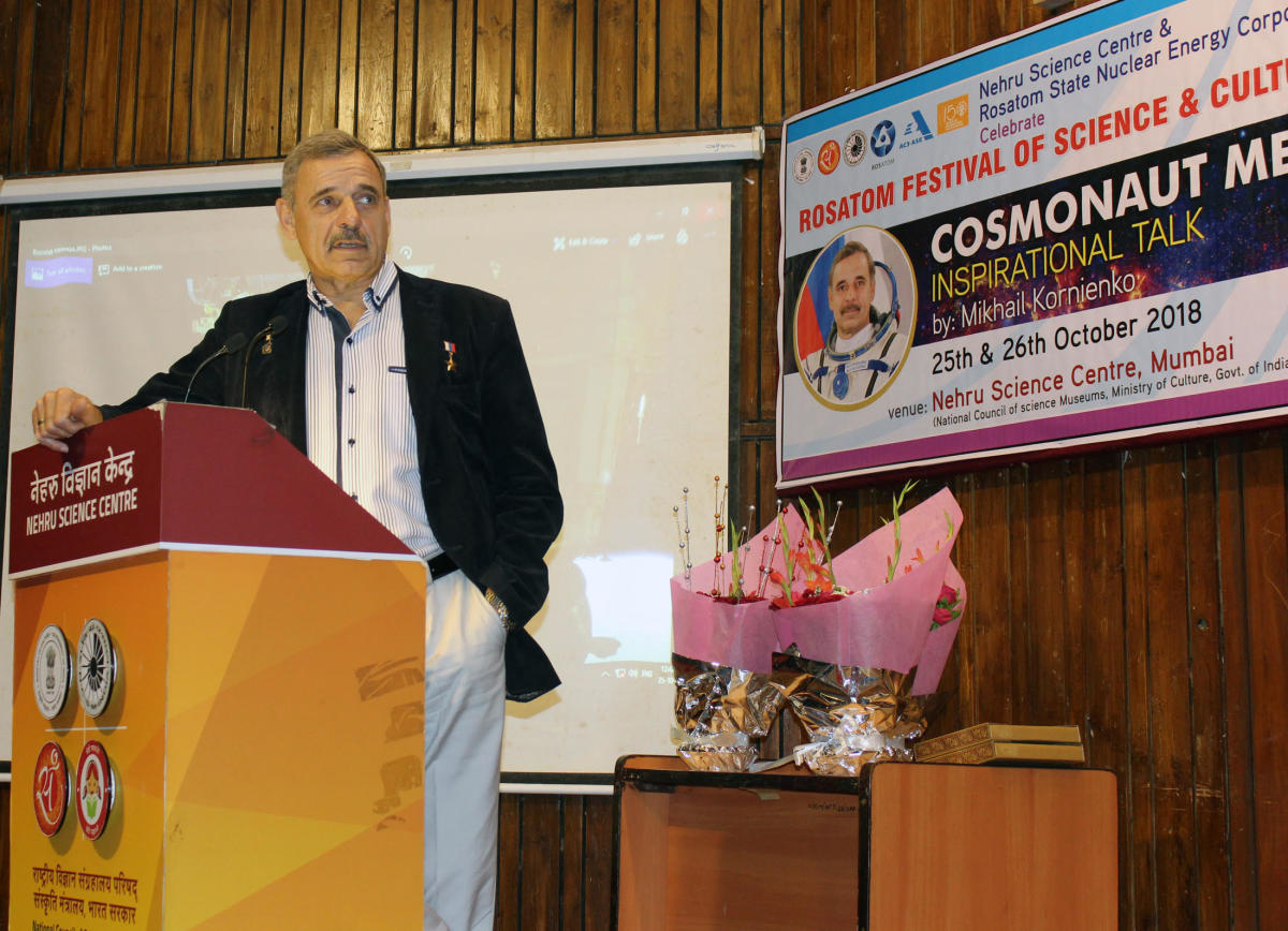 Mikhail Kornienko while addressing a gathering on his space travels at Rosatom Festival of Science and Culture in Mumbai on Thursday. DH Photo