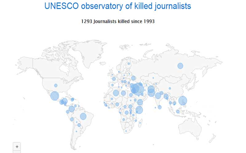 UNESCO said its observatory, which tracks nearly 1,300 killings going back to 1993, went live last Friday to coincide with the International Day to End Impunity for Crimes against Journalists.