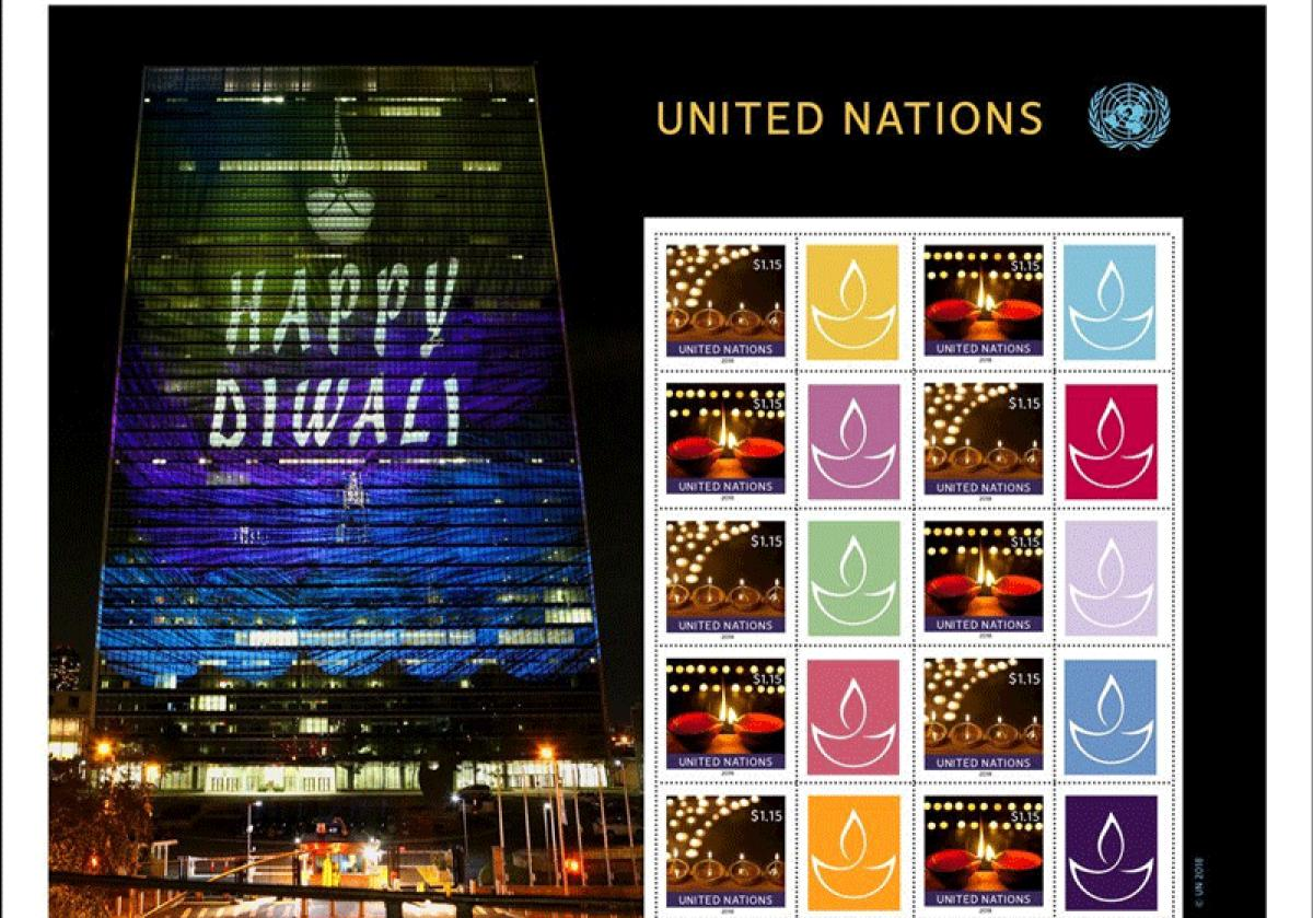 The sheet in the denomination of USD 1.15 contains ten stamps and tabs featuring festive lights and the symbolic lamps known as diyas. (Image: Twitter/@UN)