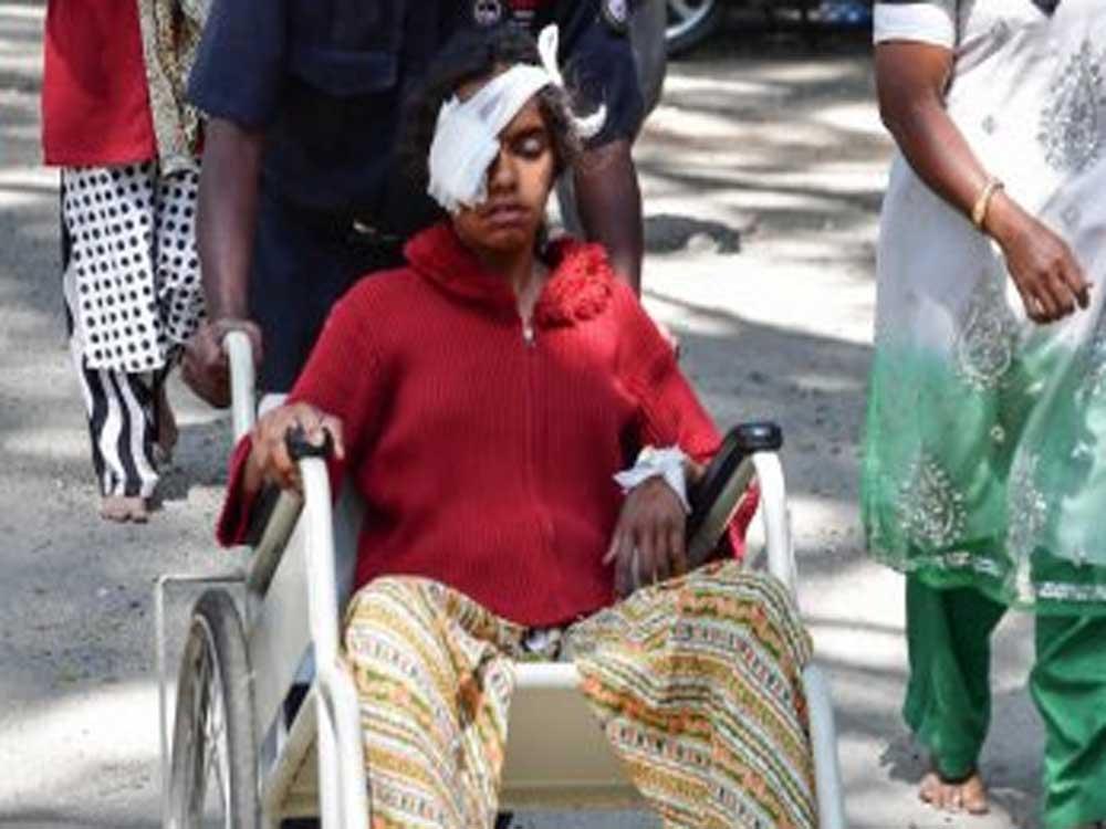 Thirteen-year-old Sadiha Banu received an eye injury in DJ Halli as she went to check a flower pot cracker.