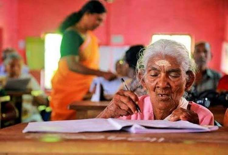 """Karthyayani Amma, the oldest candidate who appeared for the """"Aksharalaksham"""" programme of the state-run Kerala State Literacy Mission Authority, scored 98 marks out of 100. (Photo courtesy:@KiranKS)"""