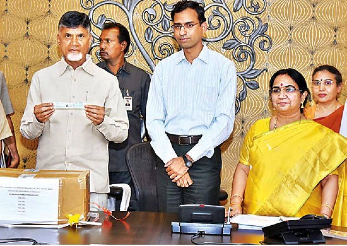 Andhra Pradesh chief minister N Chandrababu Naidu at the launch of auto- disable syringe in Amaravati.