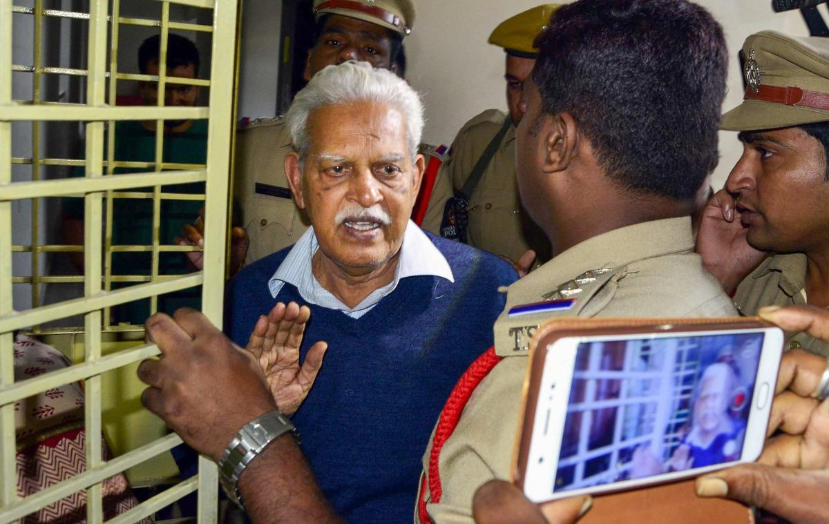 Poet-Social activist Varavara Rao as he returns home to be placed under house arrest, in Hyderabad on Thursday, Aug 30, 2018. Supreme Court gave relief to Rao and four other rights activists, who were arrested for their alleged role in Bhima Koregaon viol