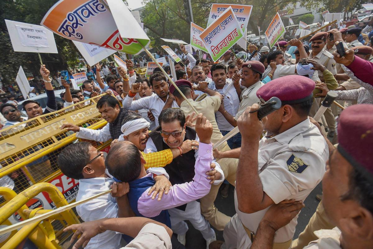 Police detains Kushwaha Samaj supporters during a protest march against Nitish Kumar's government, in Patna, Saturday, Nov 10, 2018. (PTI Photo)