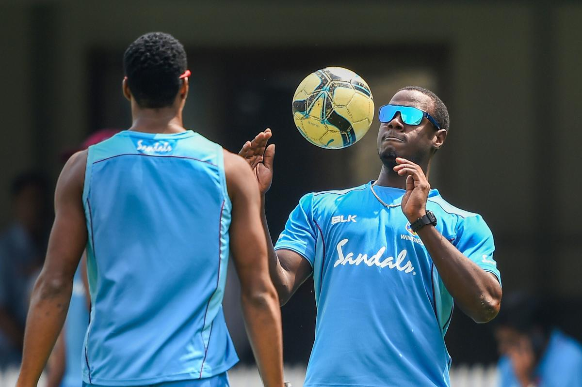 West Indies captain Carlos Brathwaite (right) during a practice session on the eve of the third T20I against India in Chennai. PTI