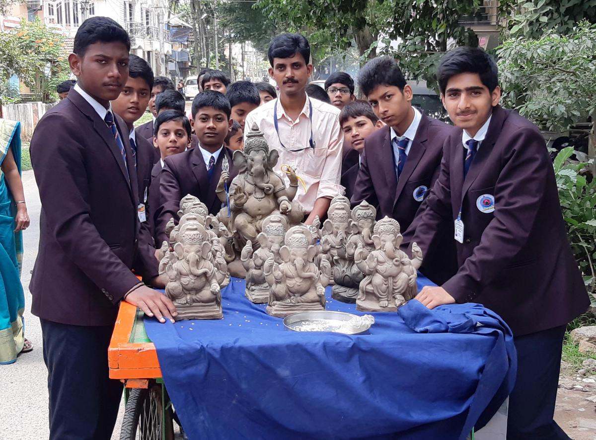 eco-friendly efforts: Students of Vasavi Public School in Shivamogga with clay Ganesha idols.