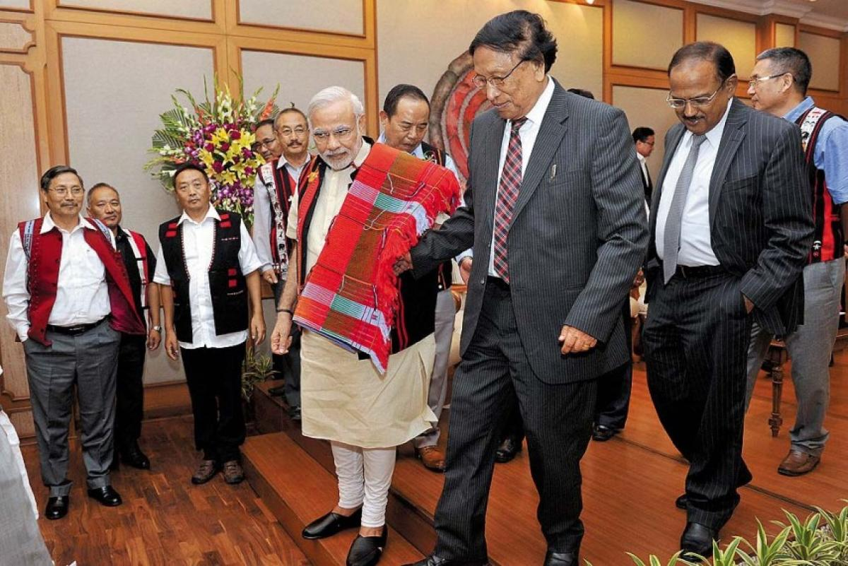 Prime Minister Narendra Modi with NSCN (IM) leader Thuingaleng Muivah in August 2015. PTI File