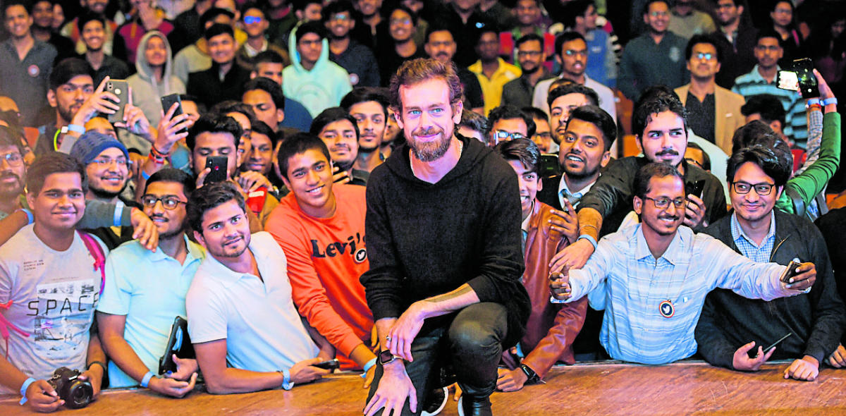 Twitter CEO and co-founder Jack Dorsey poses for photos with IIT Delhi students, in New Delhi, Monday, Nov 12, 2018. (PTI Photo/Vijay Verma)