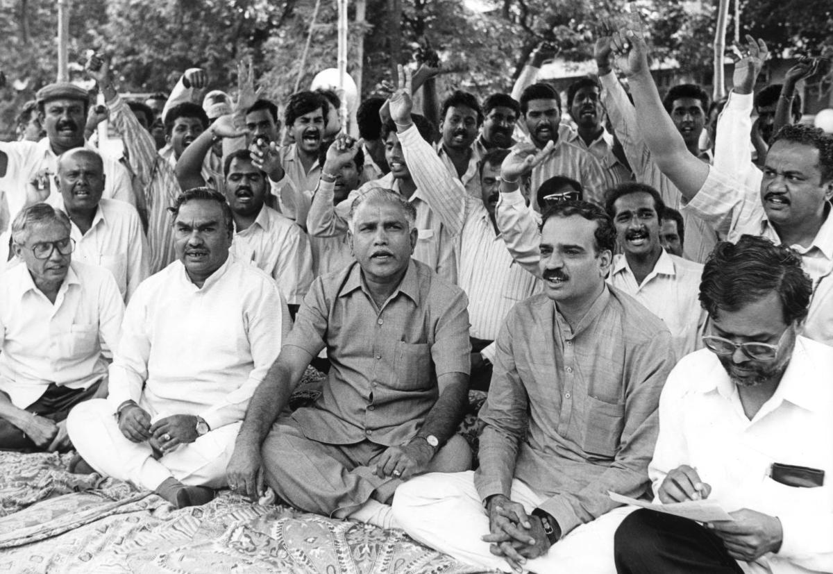 Ananth Kumar with state BJP leaders during a protest in Bengaluru. DH Archives