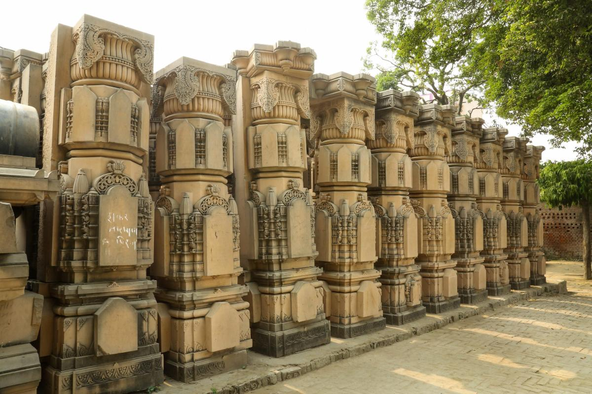 Carved stones are seen at the Ram Janmabhomi Nyas-run workshop at Karsevakpuram in Ayodhya on Nov 12, 2018. PTI photo