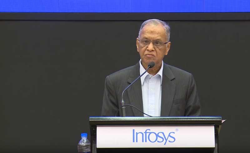 N R Narayana Murthy speaks at Infosys Prize event. Screeengrab