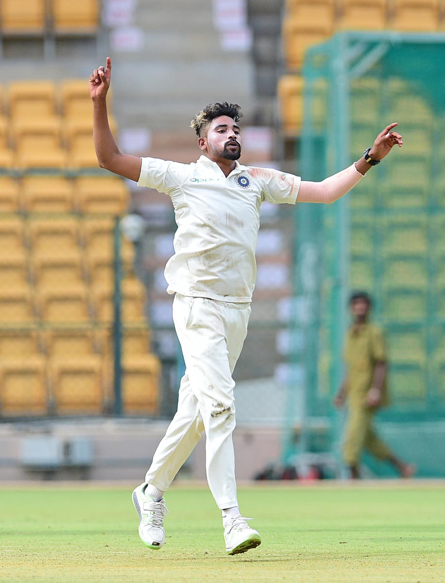 Mohammad Siraj of India 'A' celebrates after dismissing a South Africa 'A' batsman on the opening day of the four-day match in Bengaluru on Saturday. DH Photo/ Ranju P