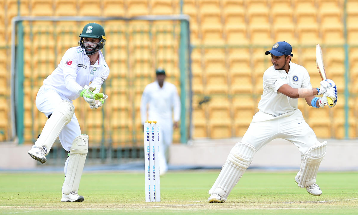 Prithvi Shaw en route to his century against South Africa 'A' on Sunday. DH photo