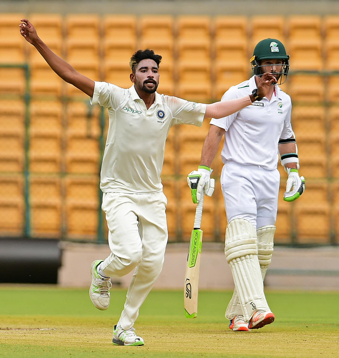 ON SONG Mohammad Siraj celebrates after sending back a South African batsman on the third day of their four-day game in Bengaluru on Monday. DH photo/ Ranju P