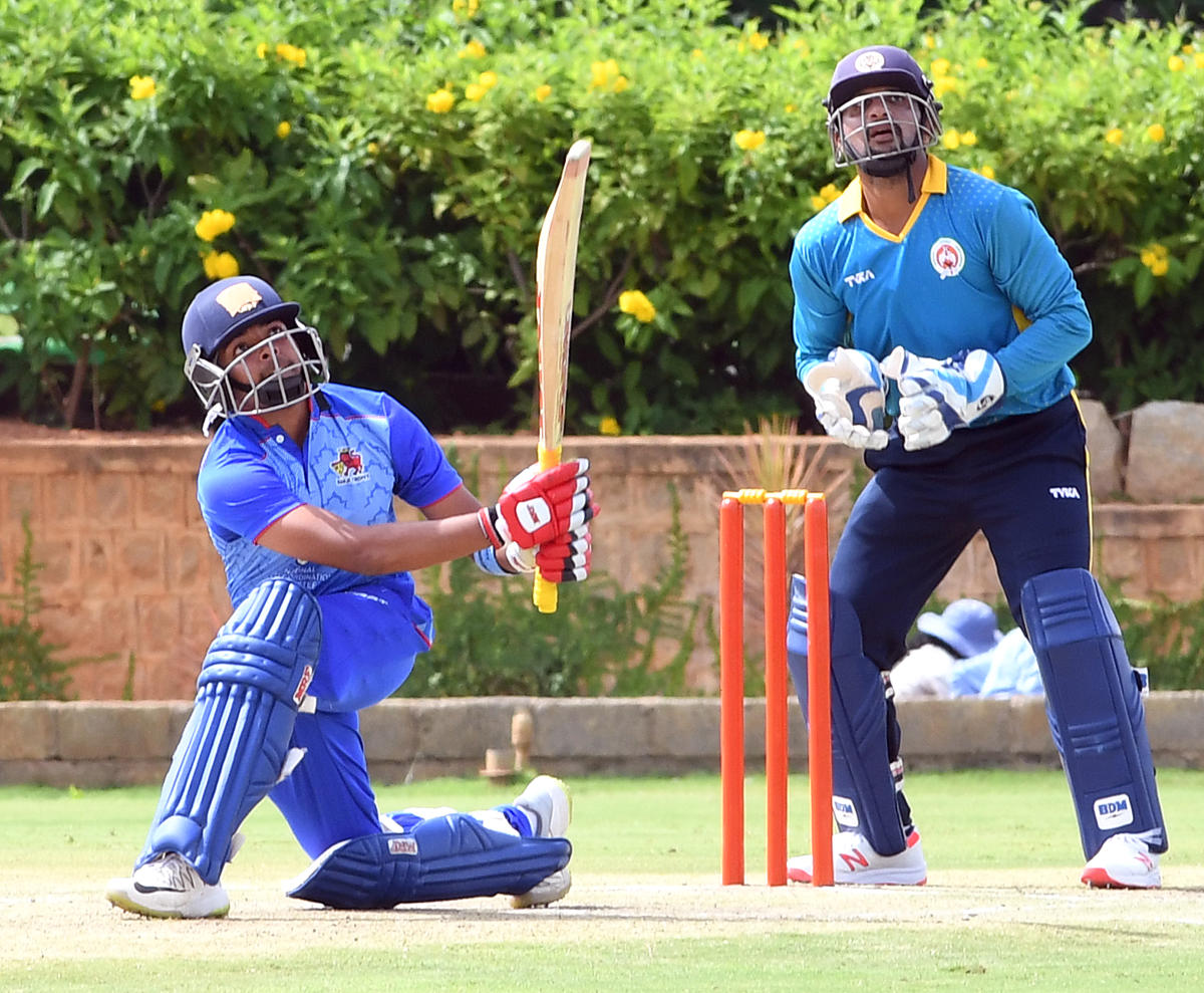 BRUTAL Mumbai's Prithvi Shaw sends one to the fence en route his 98 against Baroda in their Vijay Hazare Trophy game on Wednesday. DH
