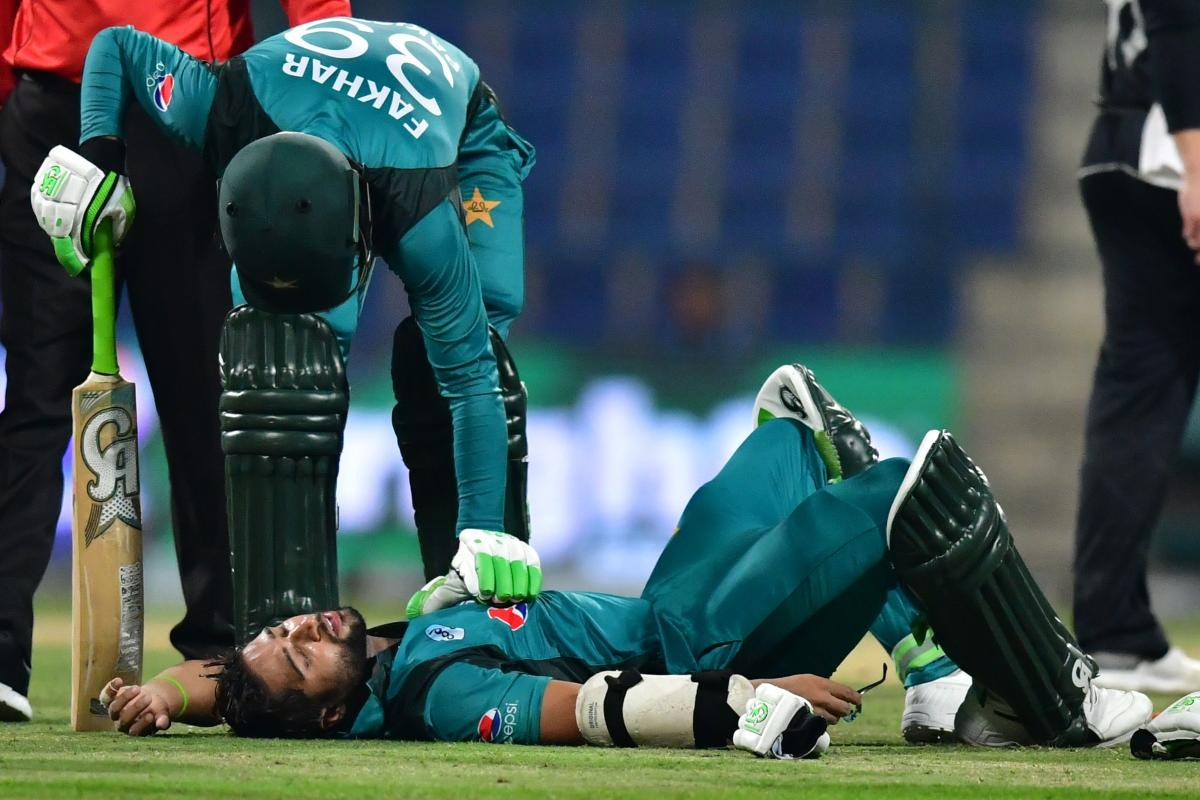 WORRYING SIGNS: Pakistan opener Imam Ul-Haq lies on the pitch after being hit by a short ball from New Zealand's Lockie Ferguson during the second one day international. AFP