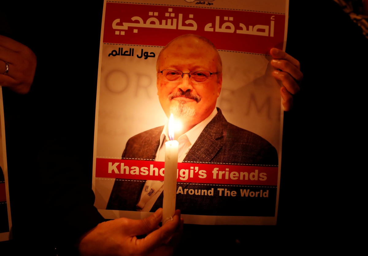 A demonstrator holds a poster with a picture of Saudi journalist Jamal Khashoggi outside the Saudi Arabia consulate in Istanbul. Reuters file photo