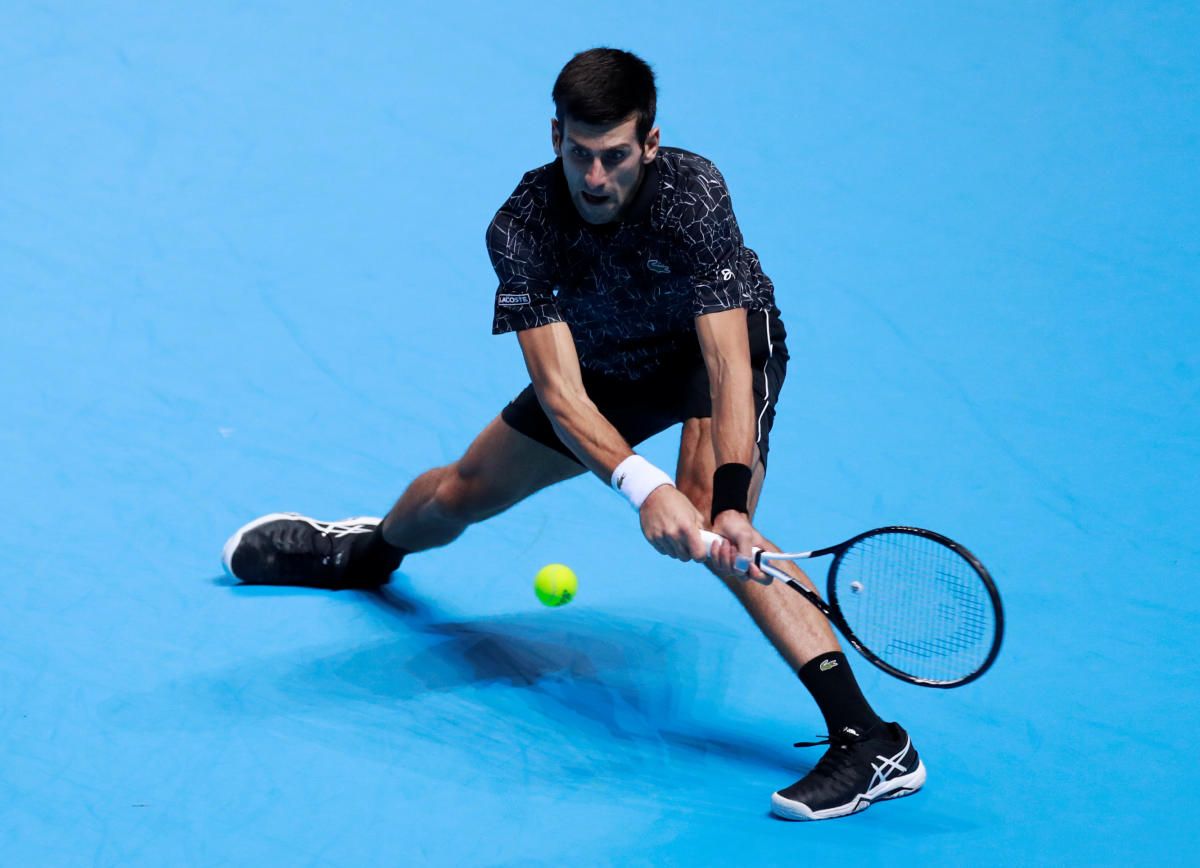 Serbia's Novak Djokovic in action during his group stage match against Germany's Alexander Zverev in the ATP World Finals on Wednesday. Reuters