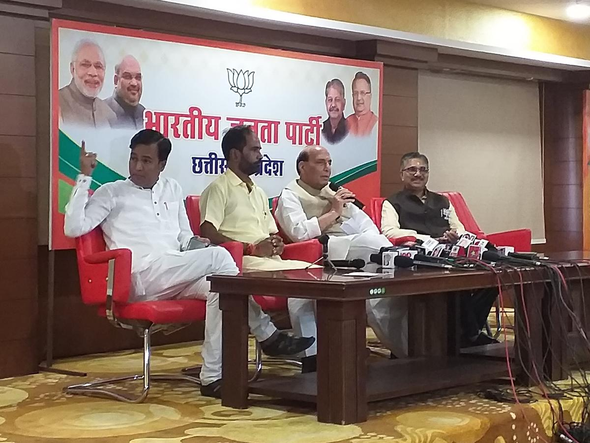 Home Minister Rajnath Singh during a press conference in Raipur on Thursday.