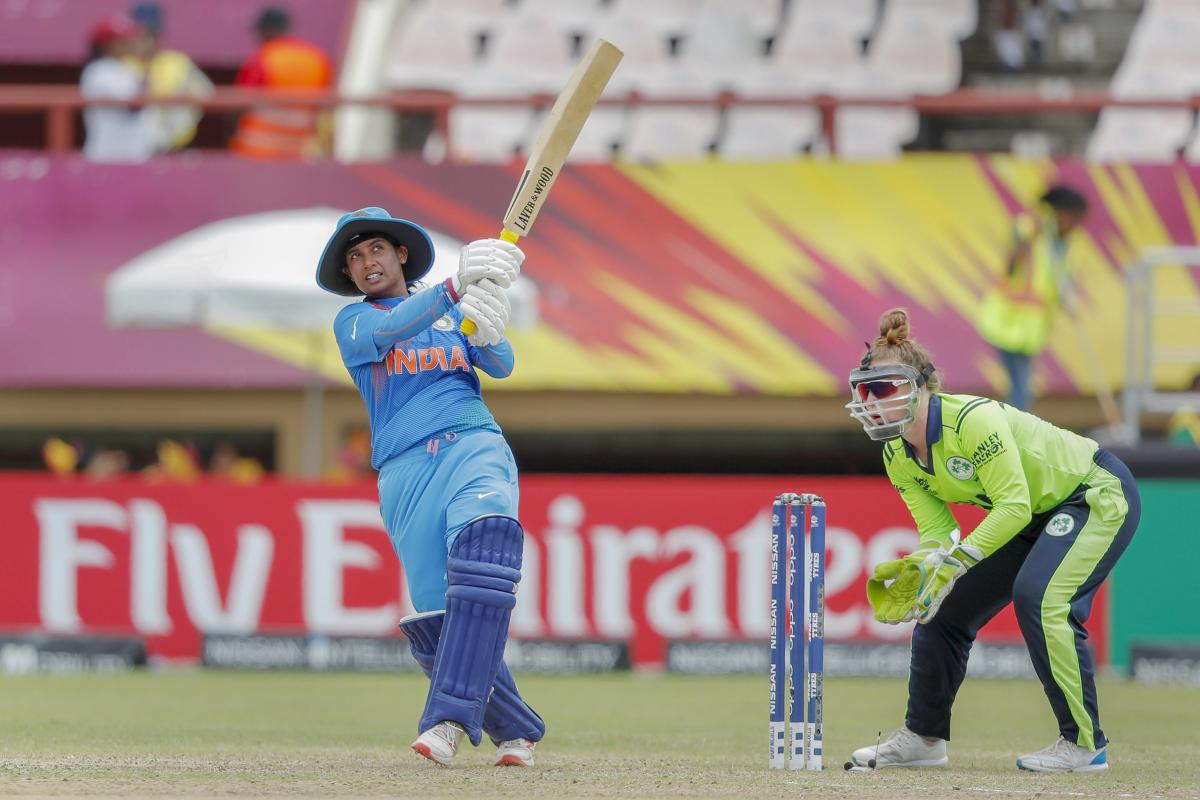 India's Mithali Raj plays a shot during Women's World T20 cricket match against Ireland at Providence, USA. PTI photo.