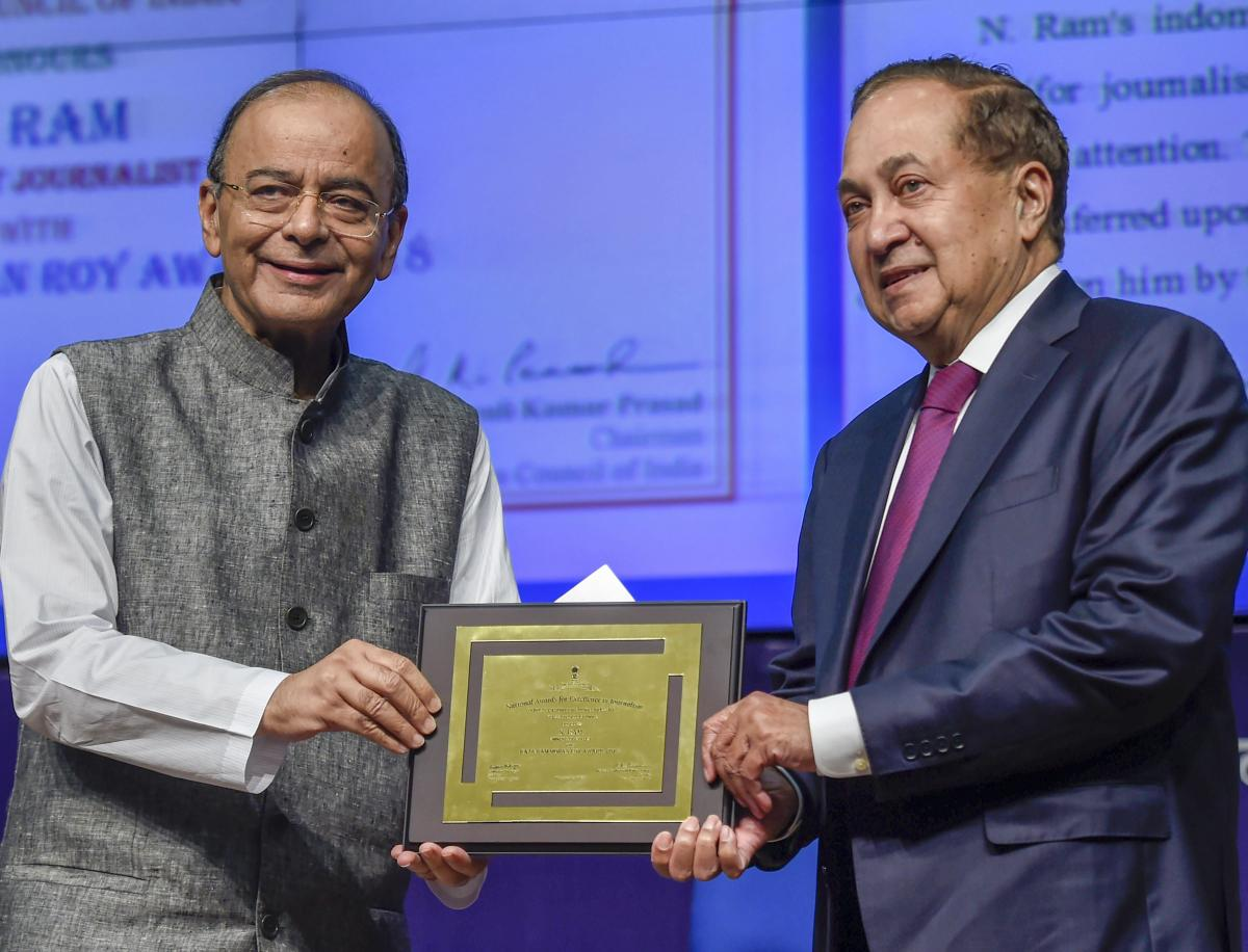 New Delhi: Finance Minister Arun Jaitley presents the 'Raja Ram Mohan Roy National Award for Excellence in Journalism' to Chairman, The Hindu Publishing Group of Newspapers, N Ram, during the National Press Day celebrations, in New Delhi, Friday. (PTI Pho