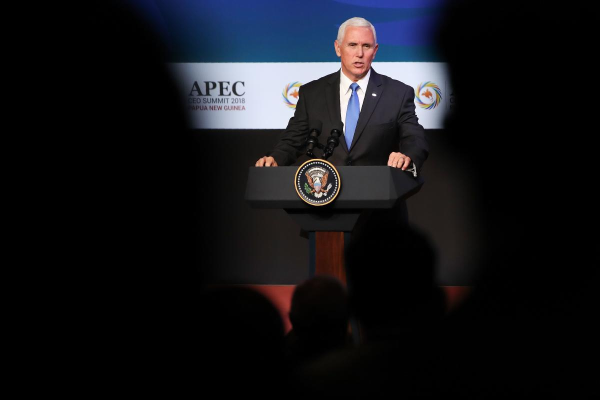 US Vice President Mike Pence speaks at the APEC CEO Summit 2018 in Port Moresby on November 17, 2018, a part of the Asia-Pacific Economic Cooperation (APEC) Summit. AFP