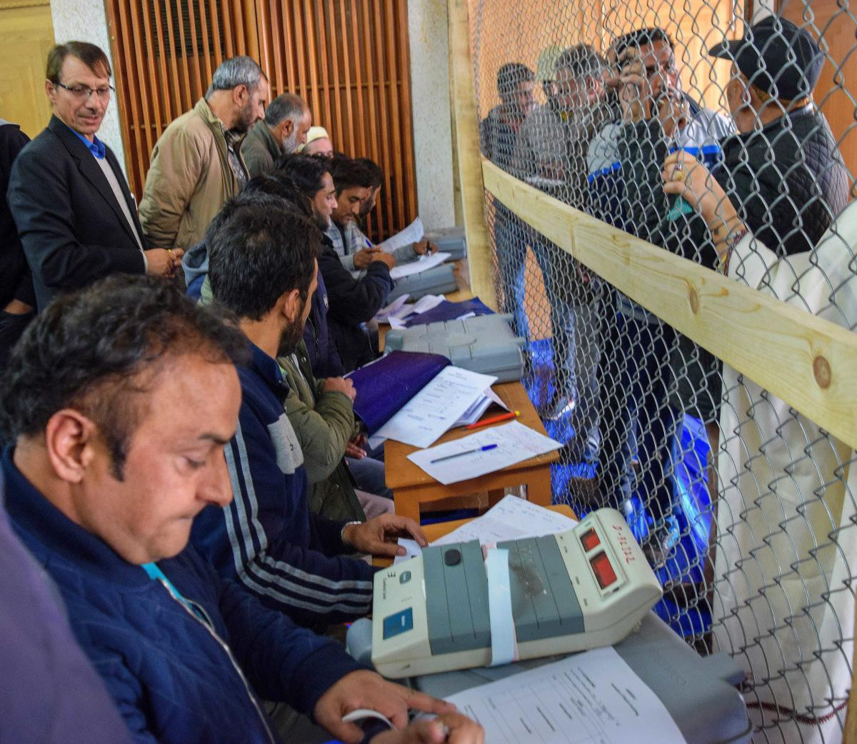 Voting began at 8 AM at 3,296 polling stations -- 1,303 in Kashmir and 1,993 in Jammu -- and would end at 2 PM, officials said. PTI Photo/ representation only