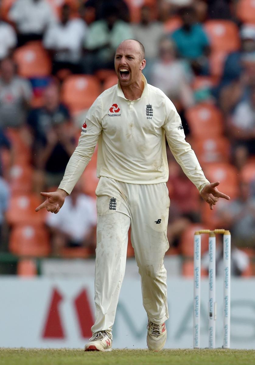 WRECKER-IN-CHIEF: England's Jack Leach celebrates the dismissal of Sri Lanka's Dilruwan Perera on Saturday. AFP
