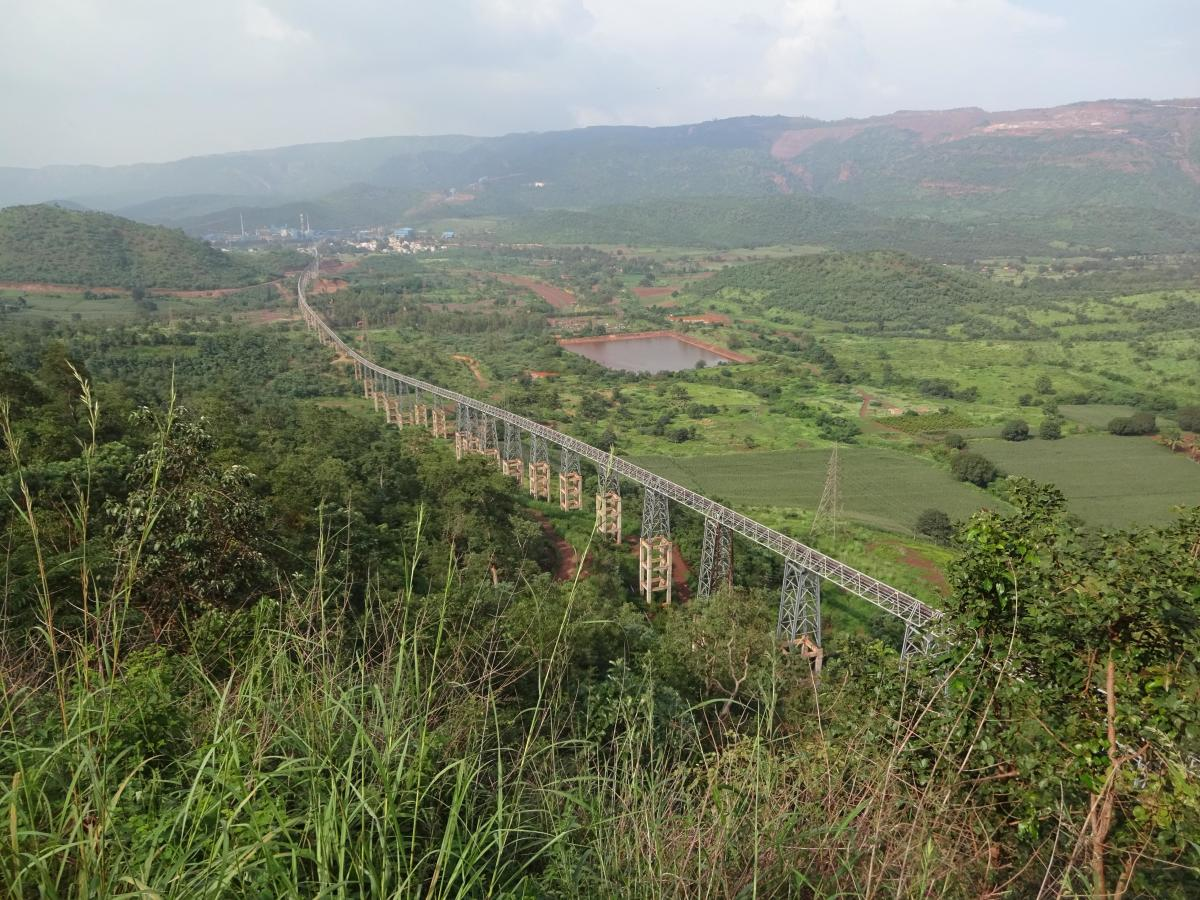 A view of the newly constructed conveyor belt in Sandur.