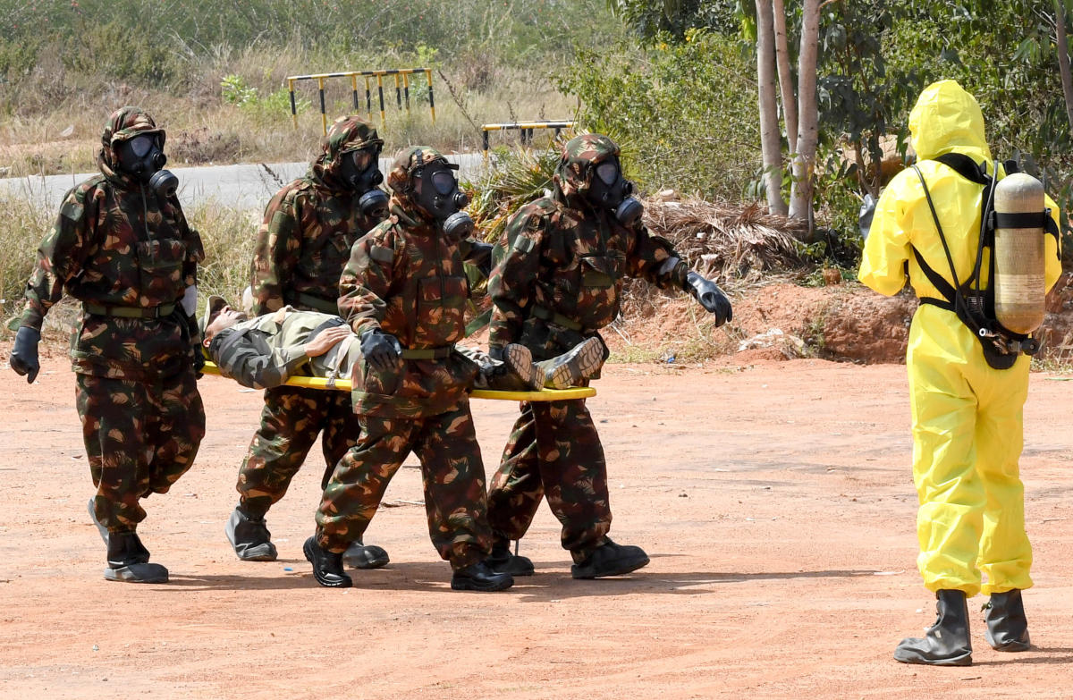 NDMA specialists at a mock drill on Saturday. DH PHOTO