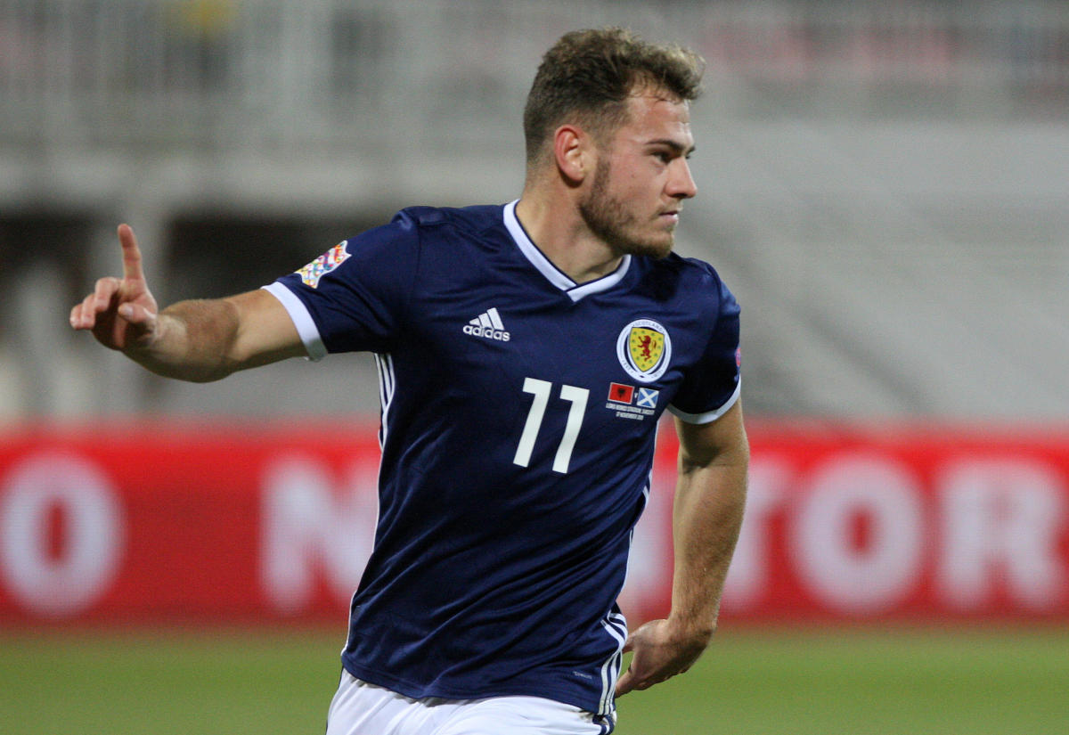 Scotland's Ryan Fraser celebrates after scoring against Albania on Saturday. REUTERS
