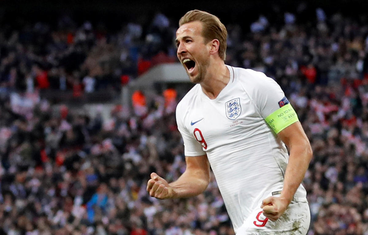 CRUCIAL STRIKE: England's Harry Kane celebrates scoring their second goal against Croatia in the UEFA Nations League on Sunday. England won 2-1. Reuters