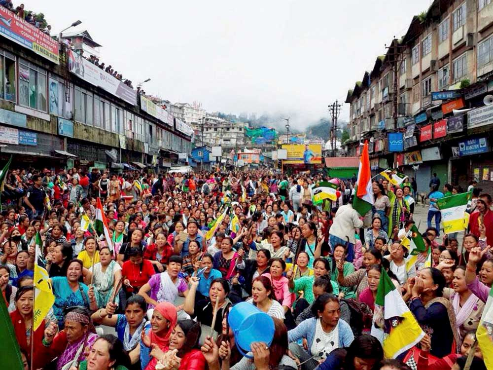 The Gorkhaland protests rocked the West Bengal region, with people demanding a separate state. PTI file photo.