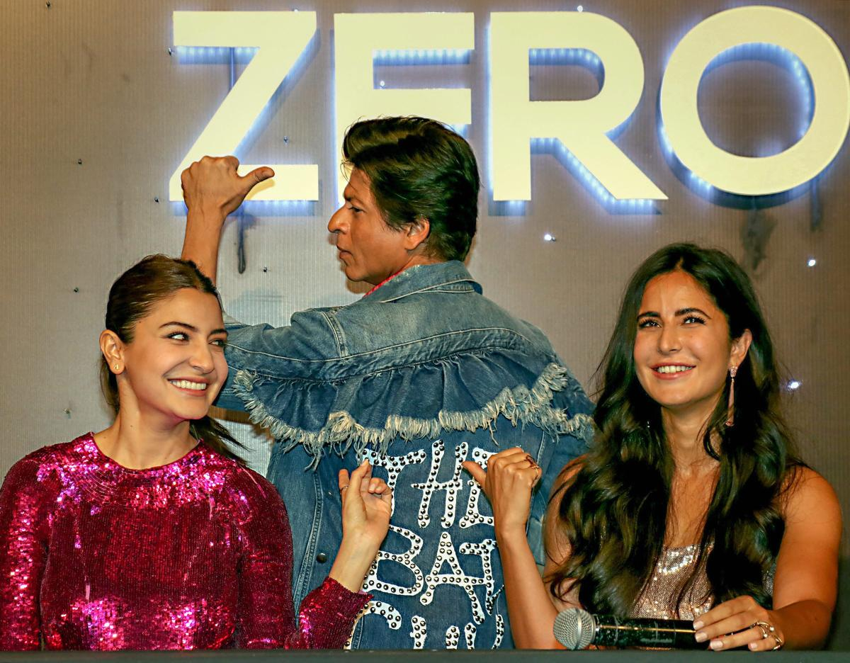 Bollywood actors Shah Rukh Khan with actress Katrina Kaif and Anushka Sharma during trailer launch of their upcoming film Zero in Mumbai. PTI file photo