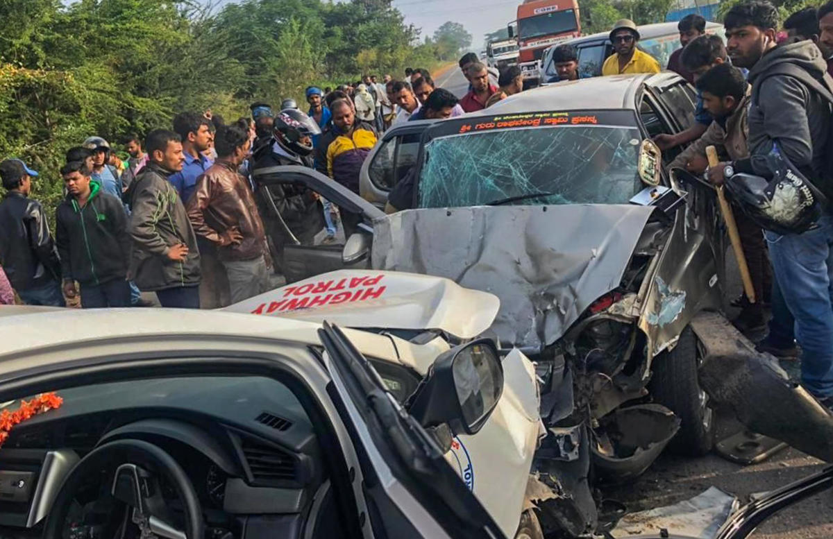The cars involved in the ghastly accident near Hoskote on Sunday morning.