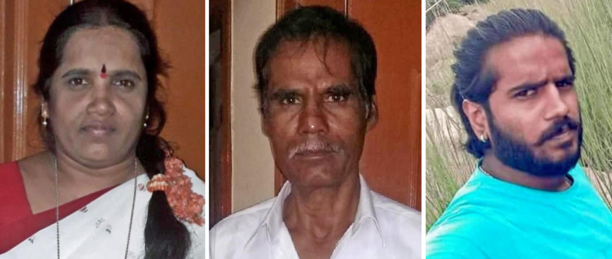 (from left to right) The victims Savithramma, Sannappa and Bharath.